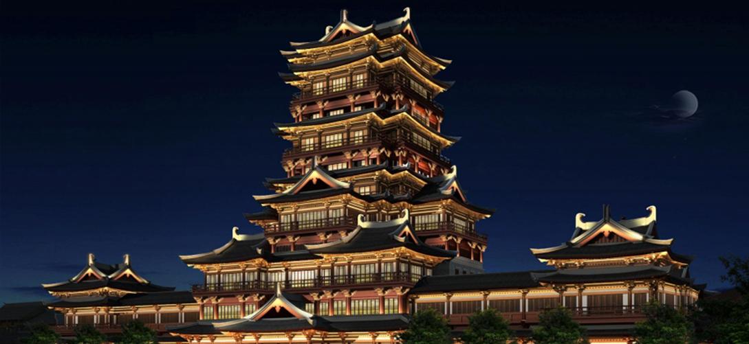 长沙铜官窑国际文化旅游度假区夜景洗墙灯厂家照明亮化工程